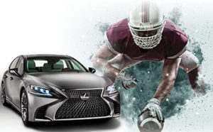 Car with football player. Score an Auto Loan Touchdown