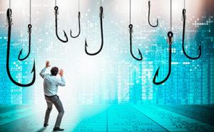 Hooks depicting phishing scams